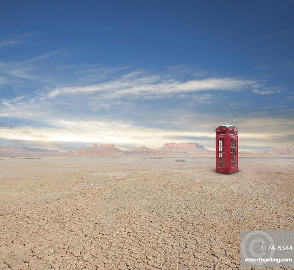 Telephone Box in Desert, Death Valley, California, United States of America