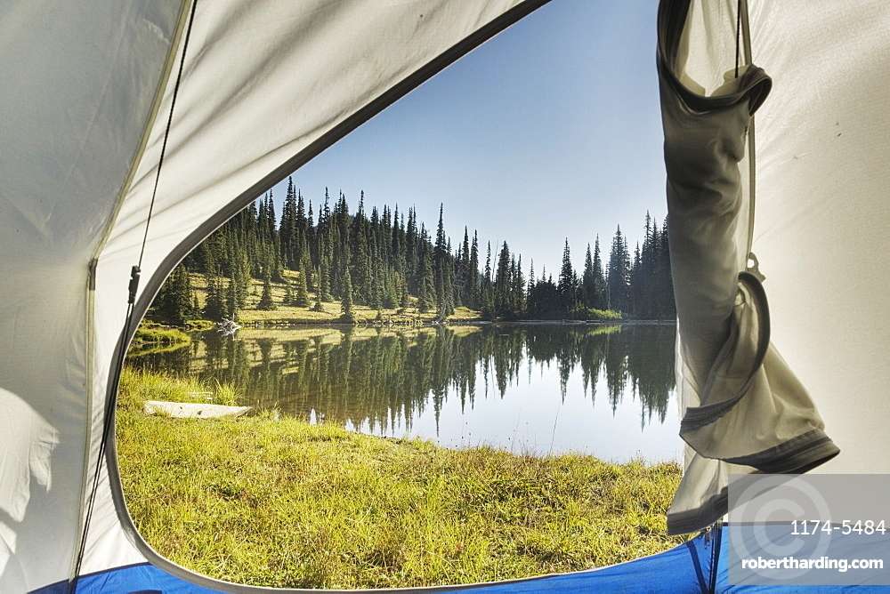 View of tranquil lake from tent, Basin Lake, Washington, United States of America