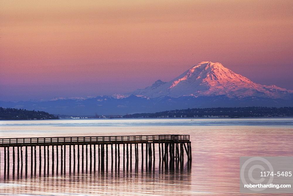 Dock, Pier and Mountain, Indianola, Washington, United States of America