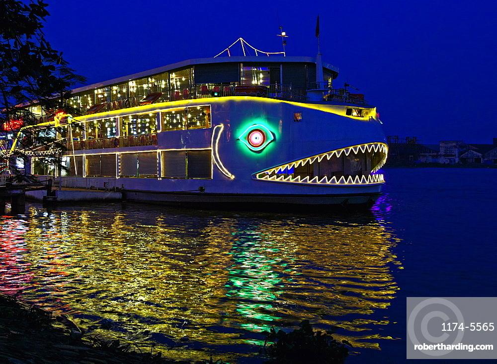 Decorated Boat at Night, Ho Chi Minh City, Vietnam