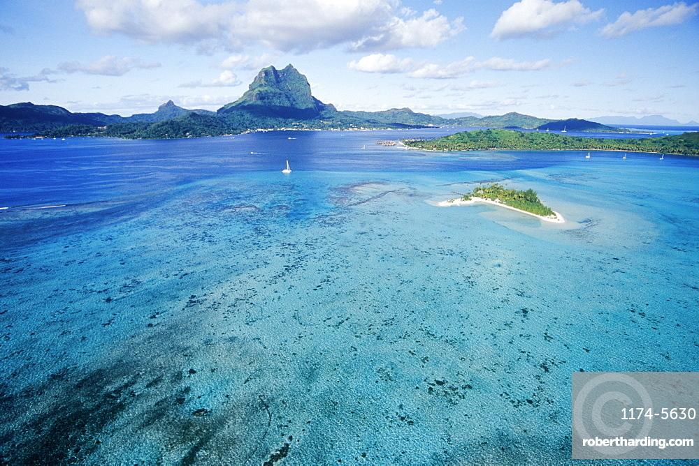 Aerial View of Lagoon, Bora Bora, Tahiti, French Polynesia