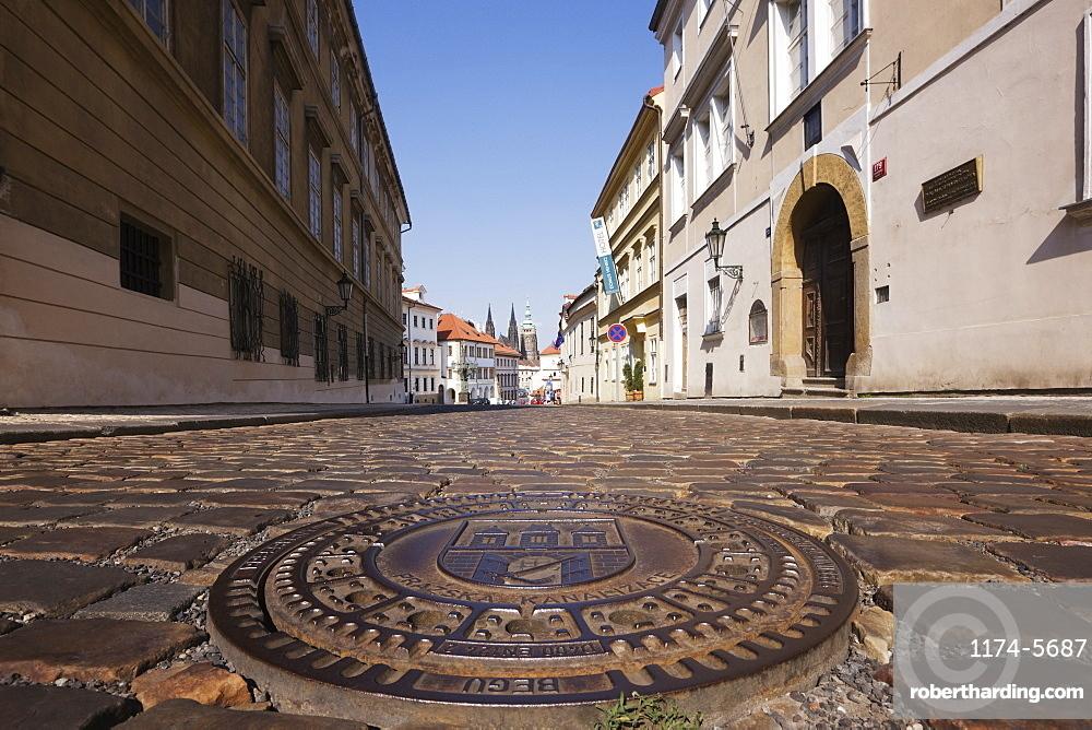 Manhole Cover on a Street in Hradcany, Prague, Czech Republic
