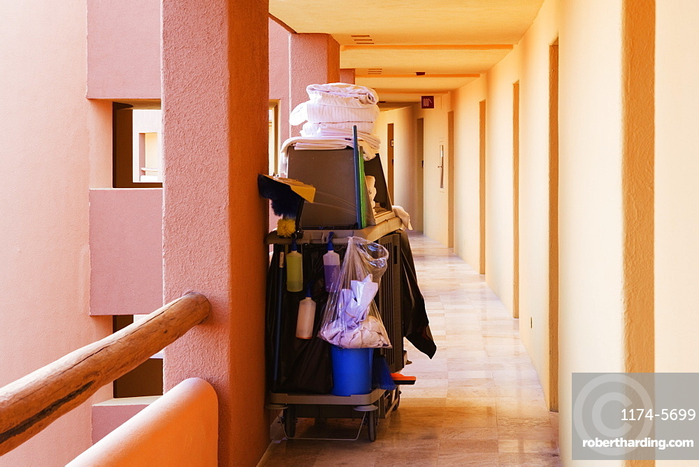 Cleaning Supplies in a Hotel Walkway, San Jose Los Cabos, Baja California, Mexico