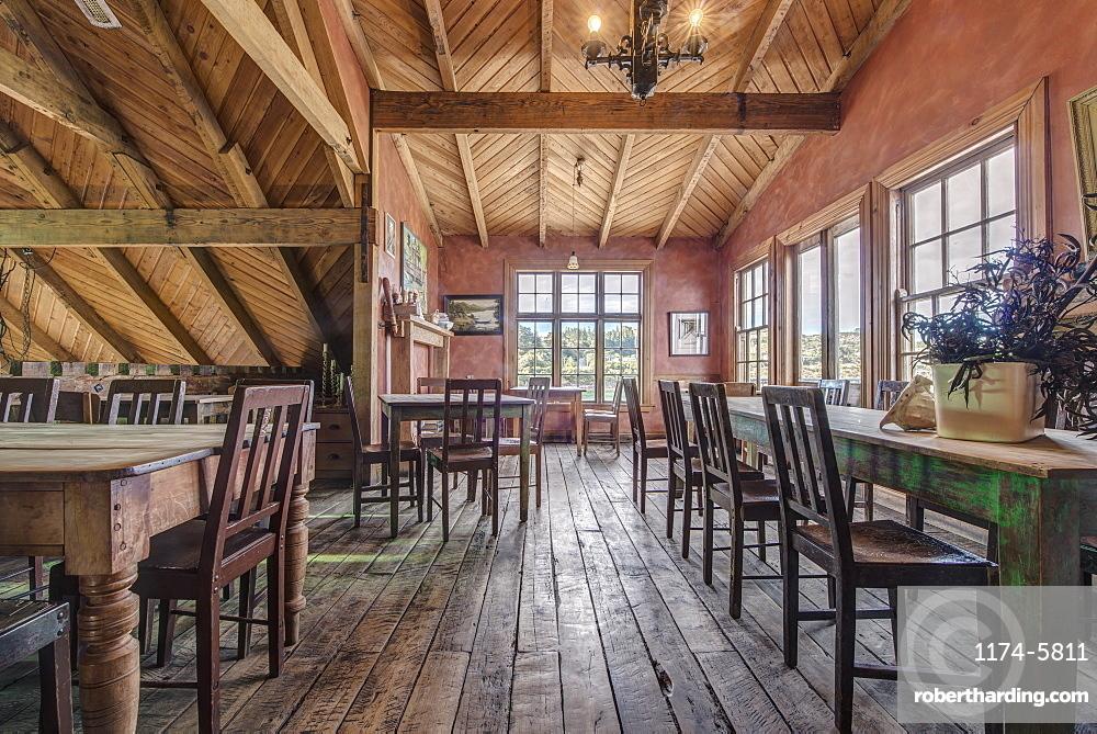 Empty chairs and tables in restaurant, Moreaki, Moreaki, New Zealand