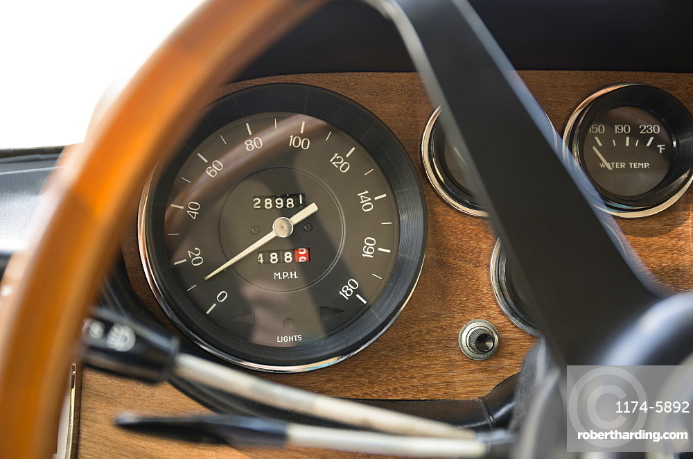 Close up of speedometer in retro Ferrari dashboard, Virginia Beach, Virginia, USA