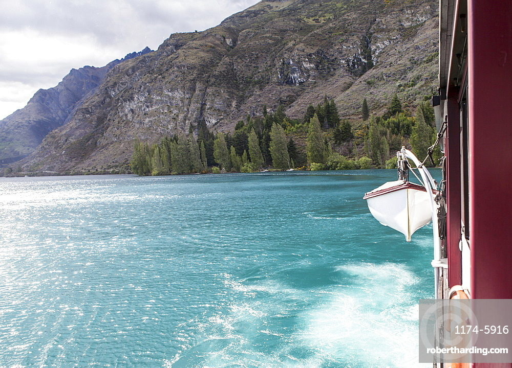 Lifeboat hanging from ship, Queenstown, New Zealand