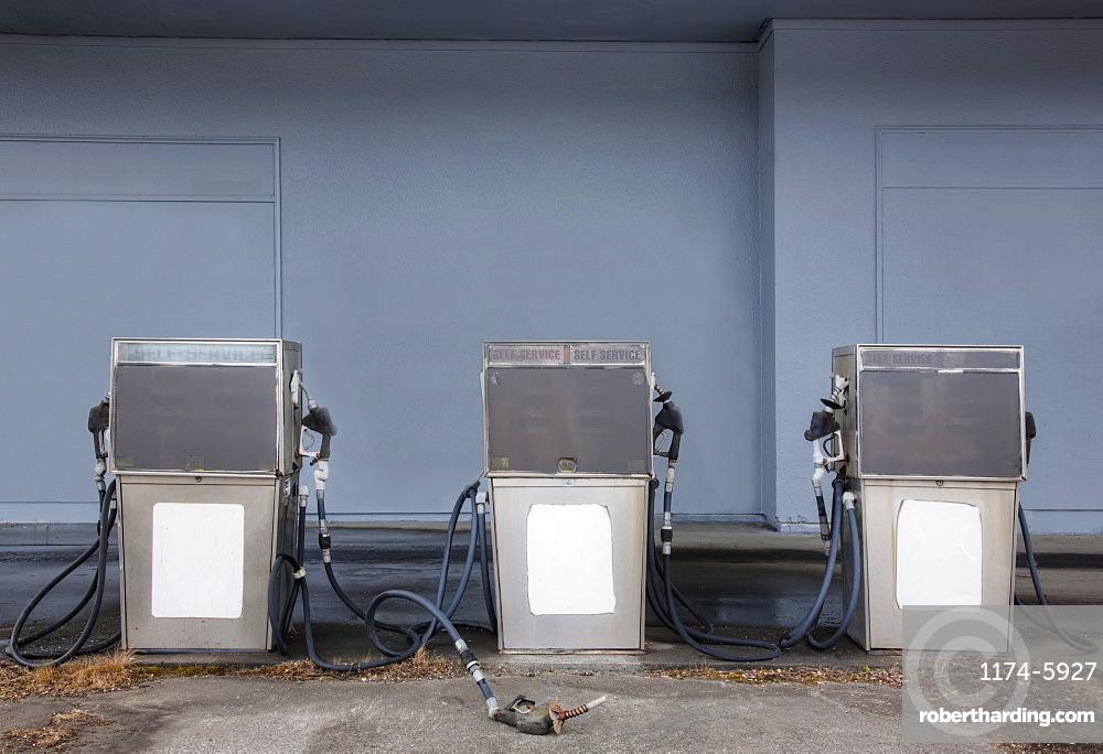 Pumps at abandoned gas station, Long Beach, Washington, USA