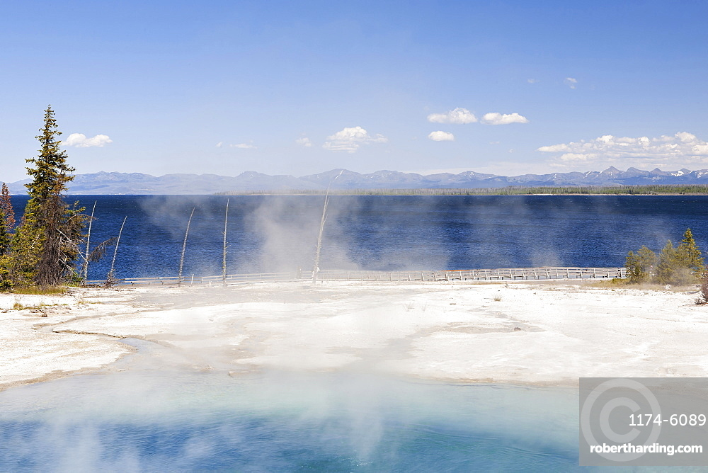 Steam rising from hot springs, Yellowstone National Park, Wyoming, United States