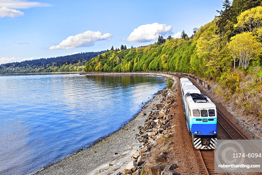 Commuter train on tracks at waterfront