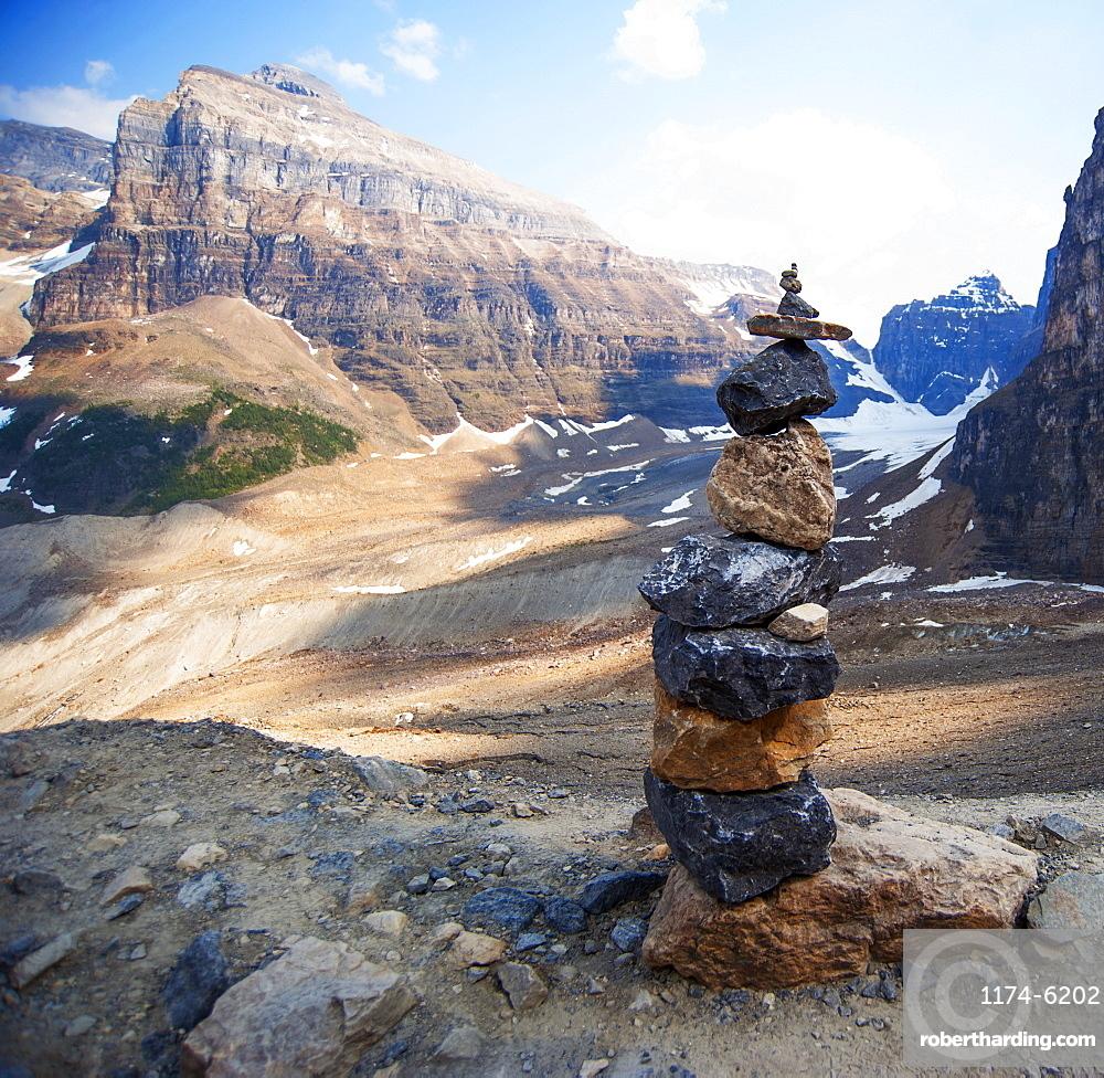 Stacked rocks on Six Glaciers Trail, Banff, Alberta, Canada