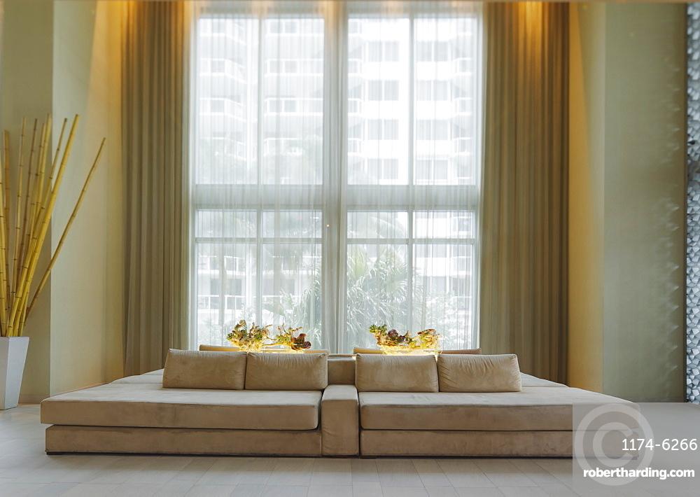 Lounge sofa in hotel lobby, Miami, Florida, USA