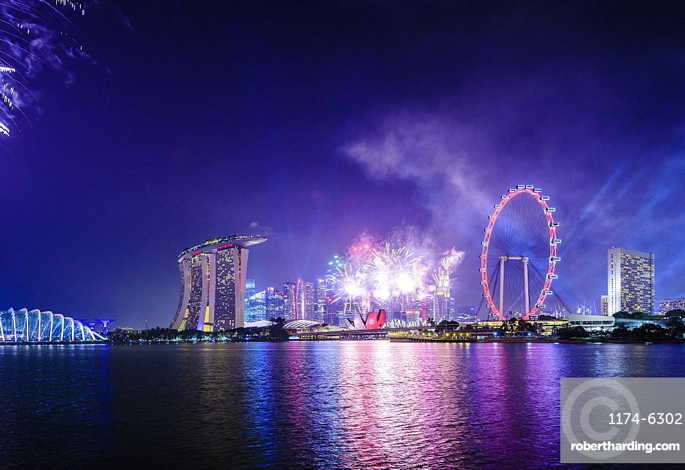 Fireworks over Singapore city skyline, Singapore, Singapore, Republic of Singapore