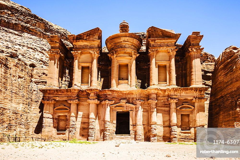 El Deir building carved into cliff face, Petra, Jordan, Jordan, Petra, Jordan, Jordan