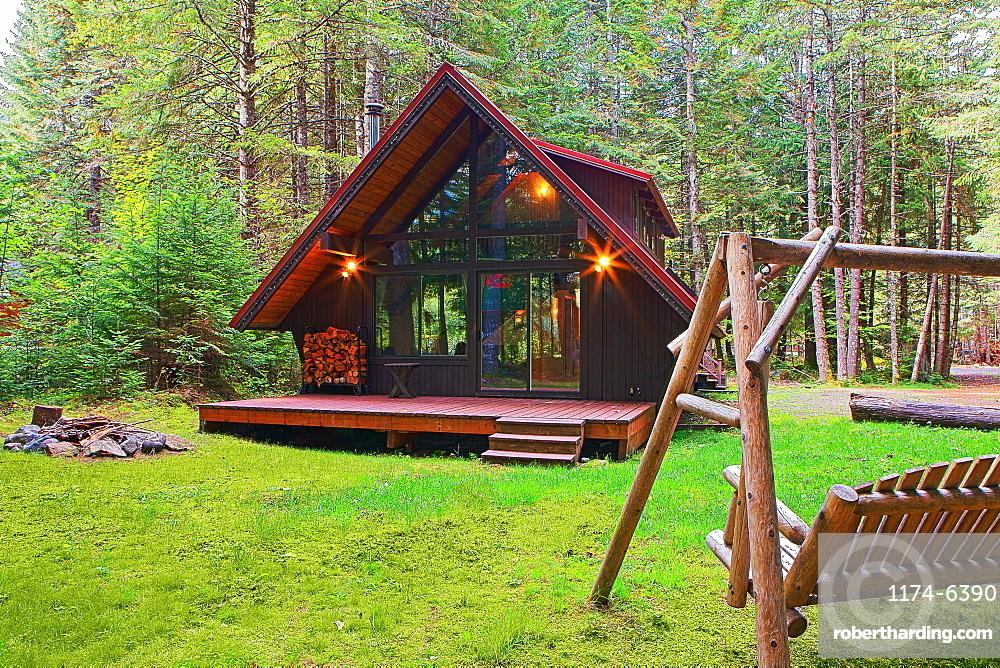 Modern house with backyard in forest, Vashon, Washington, USA