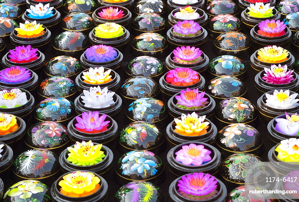 Carved soap lotus flowers in bowls, Chiang Mai, Chiang Mai, Thailand