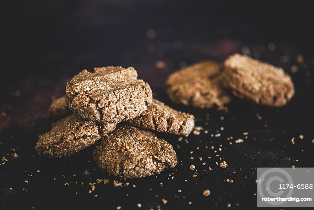 High angle close up of freshly baked chocolate cookies, England