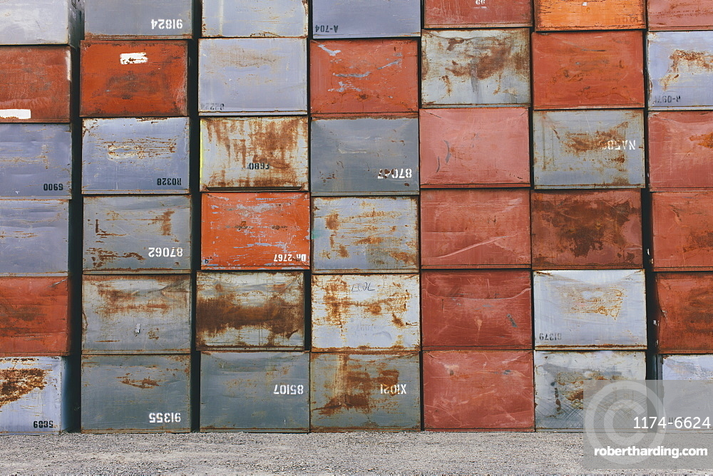 Stack of rusty metal containers, Palouse County, Washington, USA