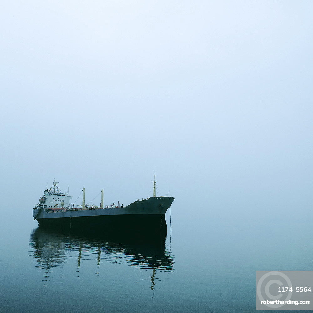 Cargo Ship in Fog, Halong Bay, Quang Ninh, Vietnam