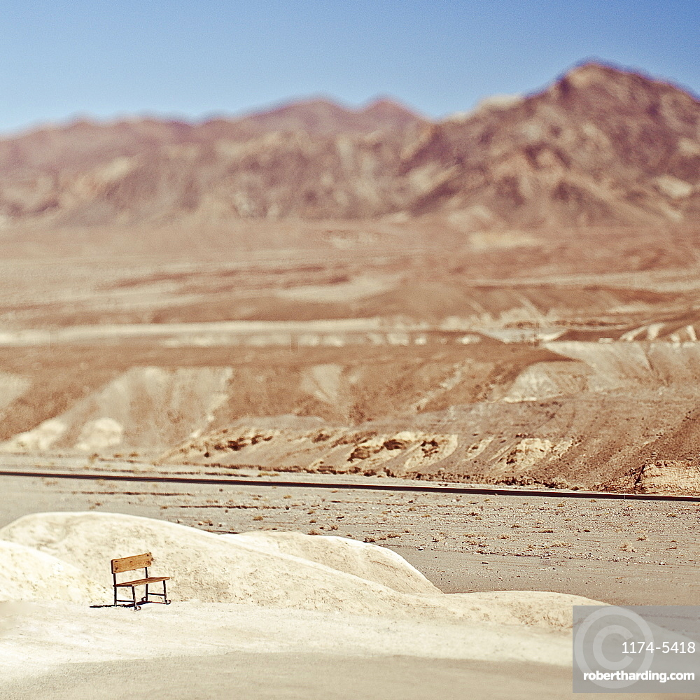 Empty Bench in Desert Landscape, Death Valley, California, United States of America