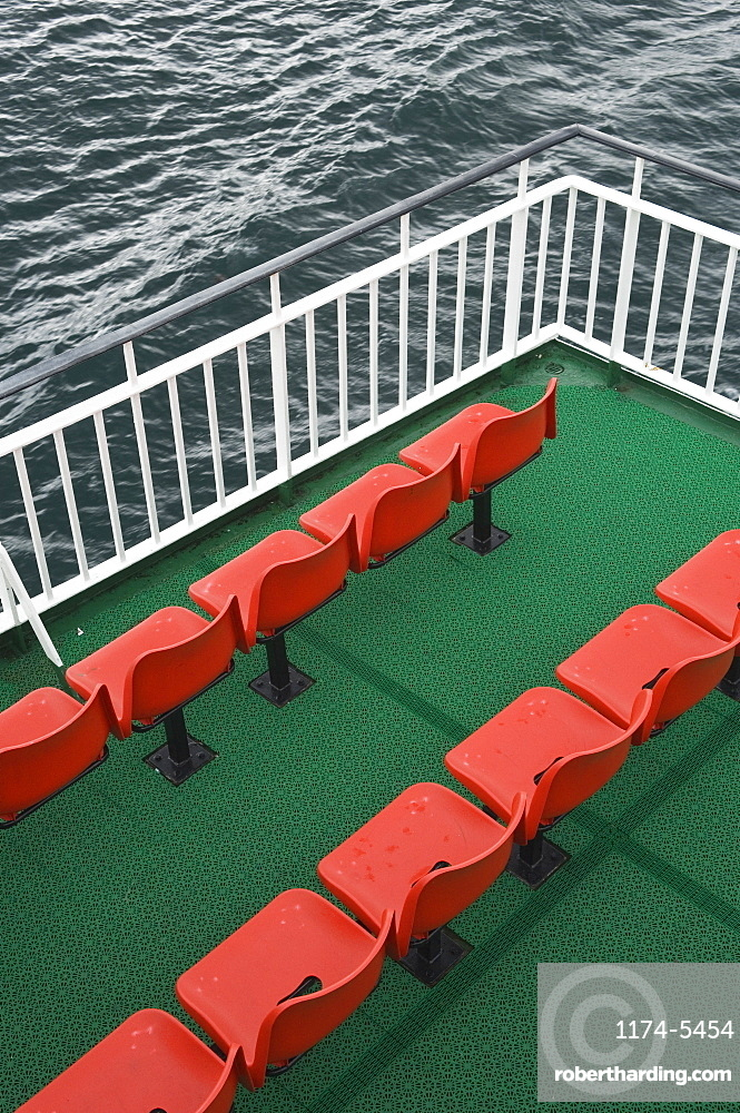 Seating on a Ferry, Ross-shire, Scotland, UK