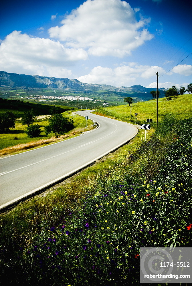 Winding Road Through Rural Landscape, Andaluica, Spain