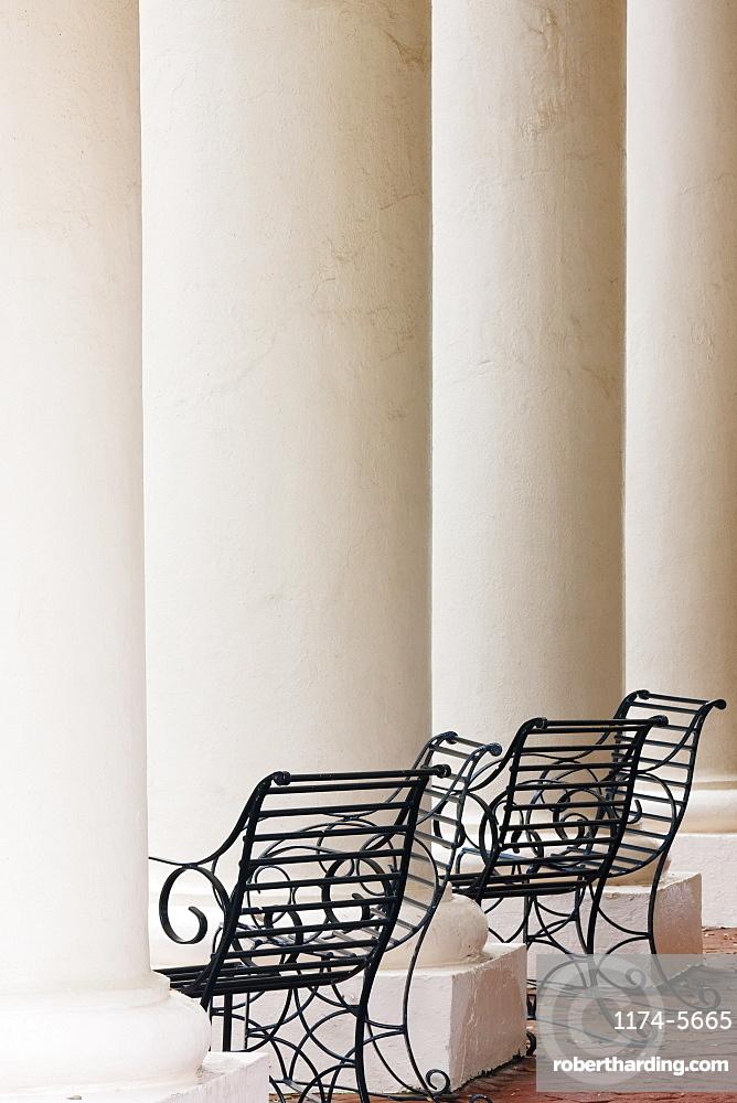 Wrought Iron Chairs and Columns, Louisiana, USA