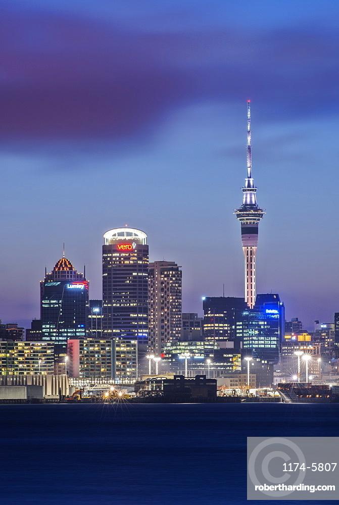 Auckland skyline lit up at night, New Zealand, Auckland, Auckland, New Zealand