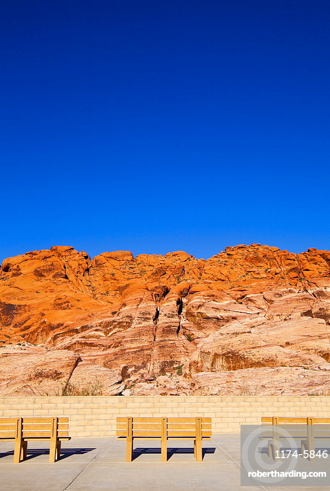 Park benches facing Red Rock Canyon, Nevada, United States, None, Nevada, USA