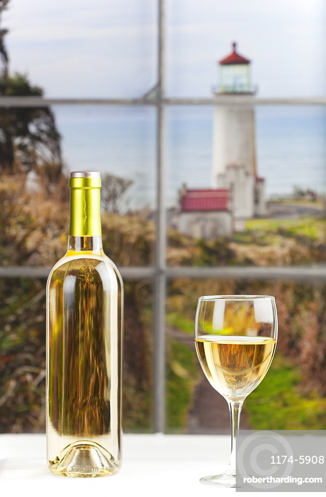 Close up of bottle of wine and glass on table, Studio, Washington, USA