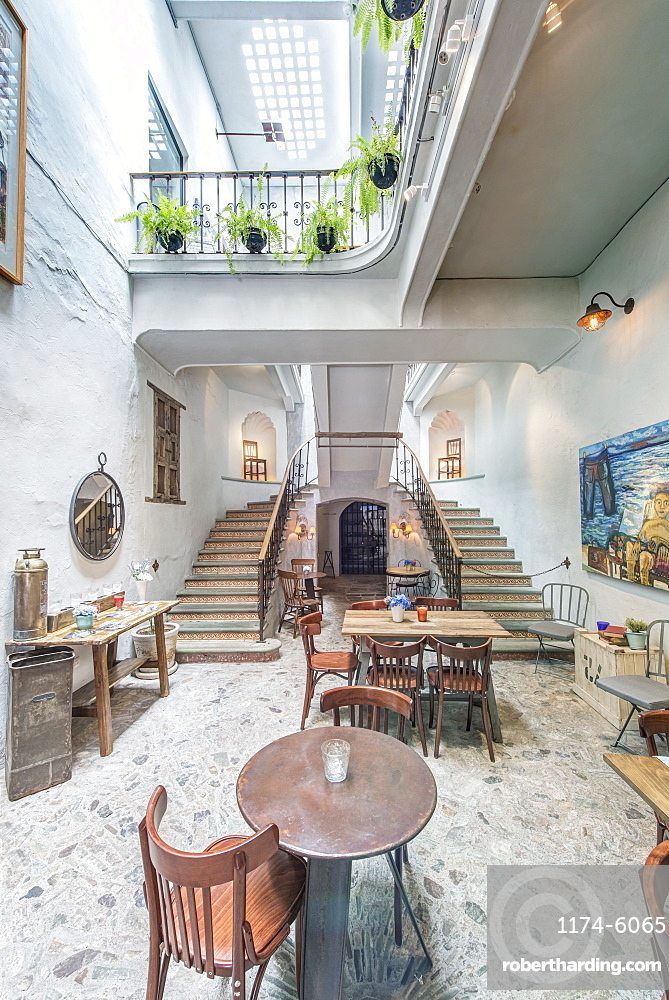 Balcony and staircase in traditional coffee shop