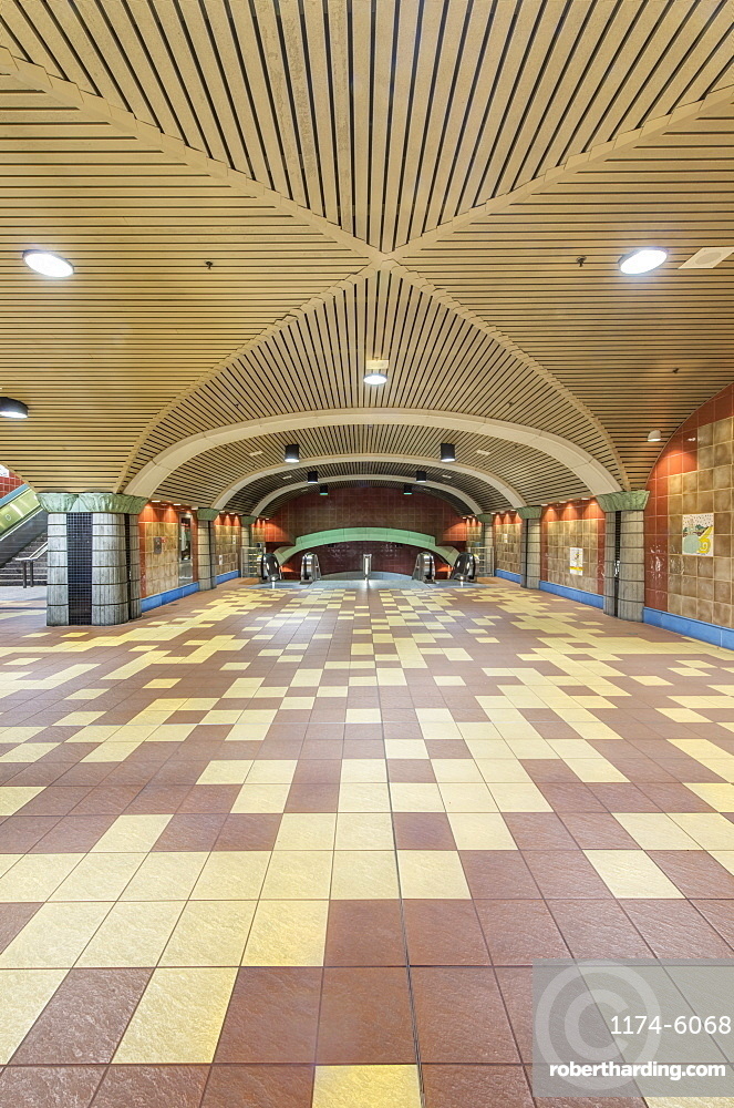 Ornate roof and floor tiles of subway station