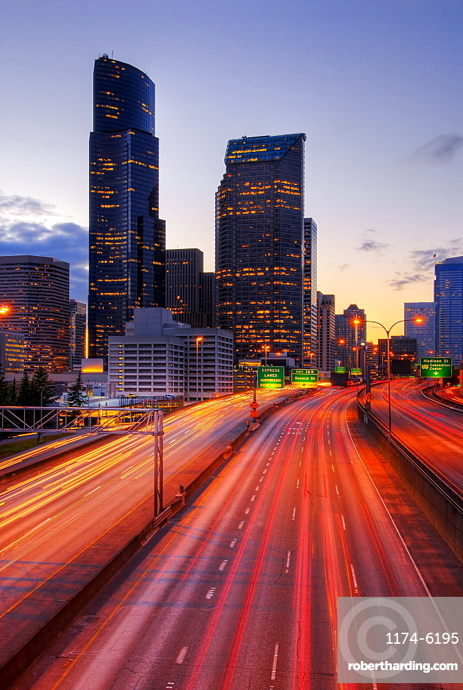 Long exposure view of traffic driving on urban highway, Seattle, Washington, United States