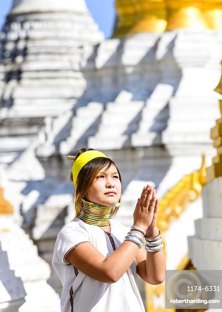 Asian woman doing traditional dance at temple, Mingun, Mingun, Myanmar