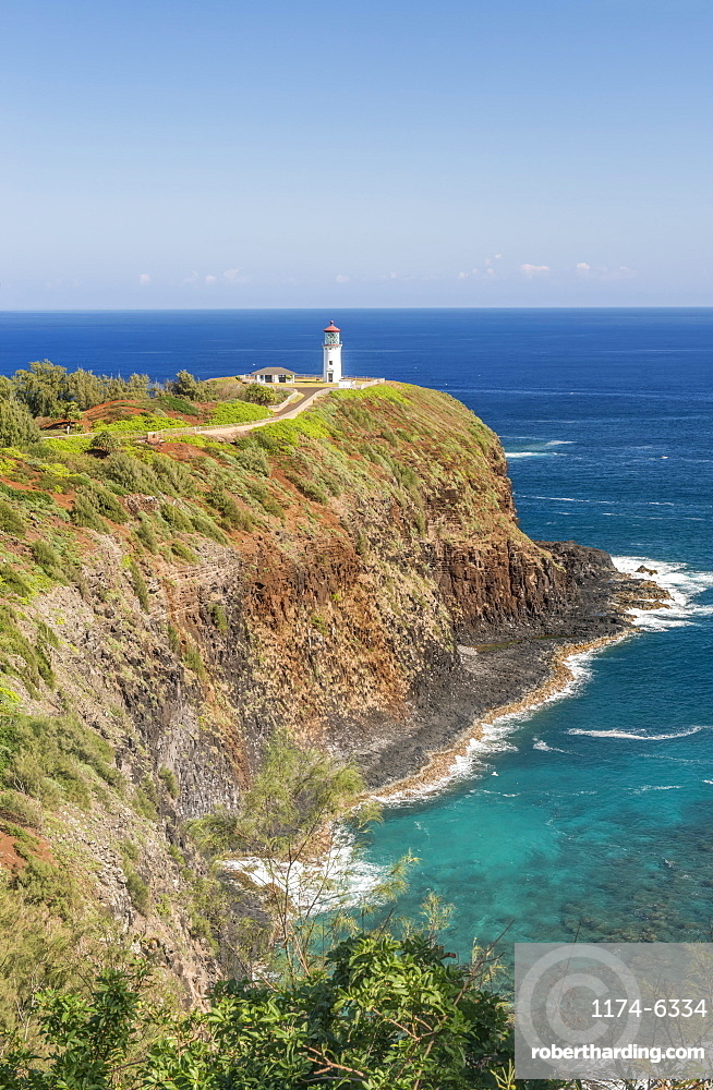 Kilauea Lighthouse on coastline, Hawaii, United States, Hawaii, USA