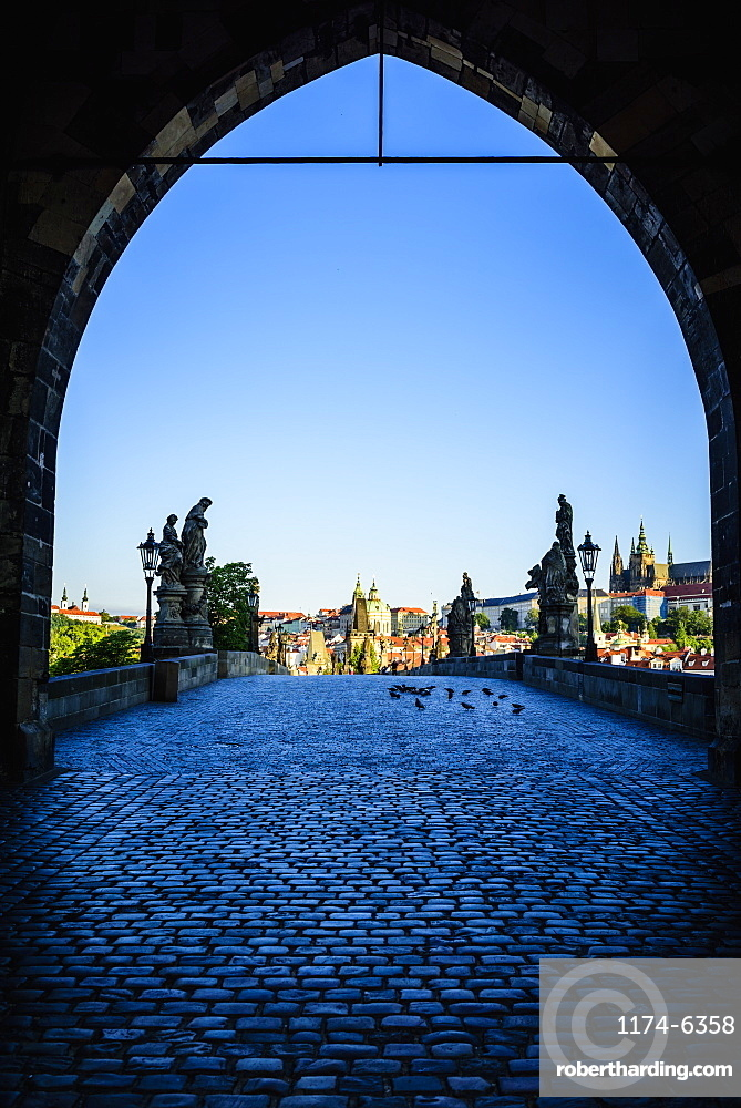 Arch over Prague cityscape, Czech Republic, Prague, Czechoslovakia