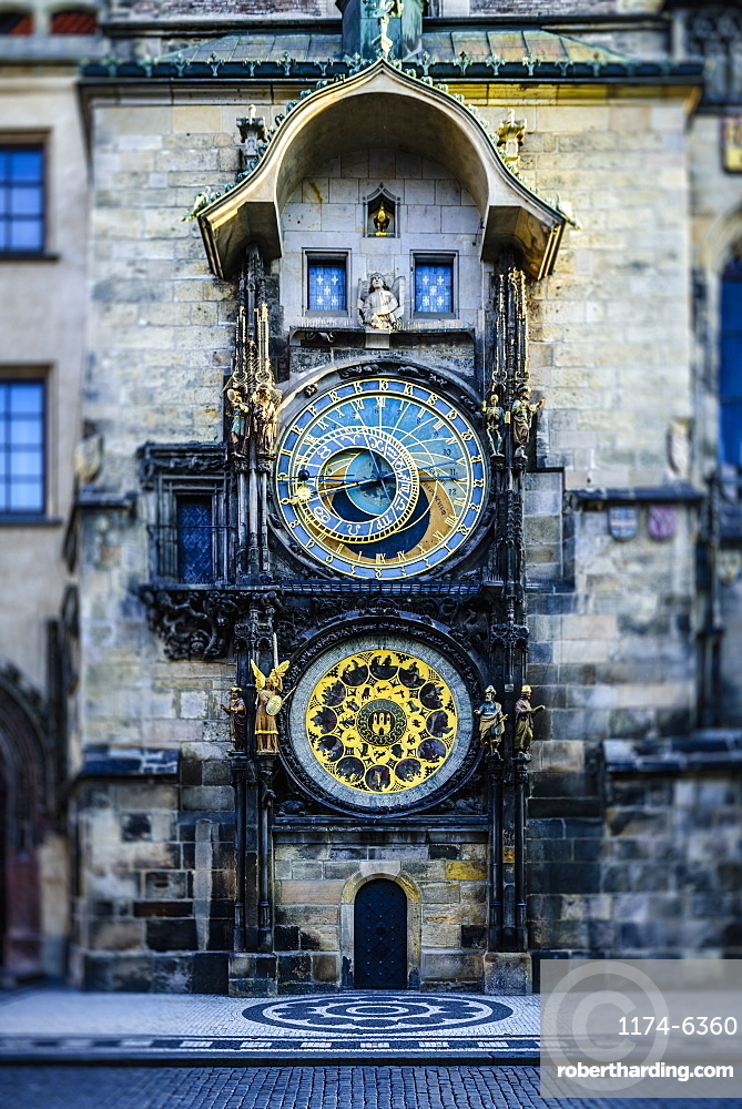 Ornate clock on historical building, Prague, Czechoslovakia