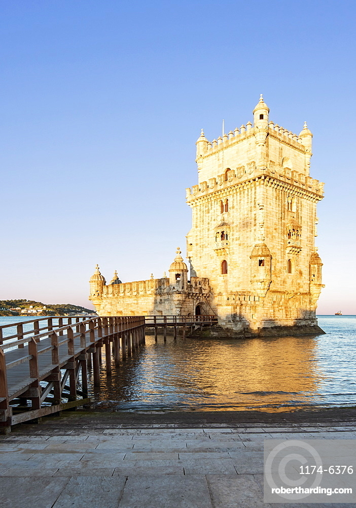 Belem Tower and pier on water, Lisbon, Portugal, Lisbon, Portugal
