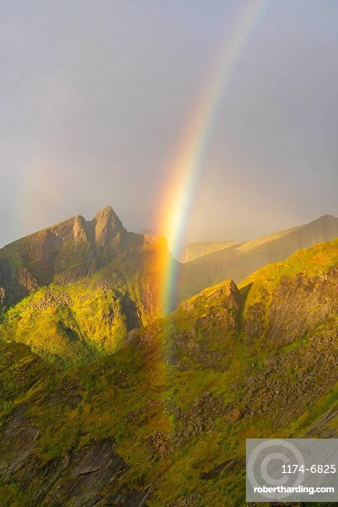 Rainbow in the mountains on Senja Island, Troms County, Senja Island, Lofoten Islands, Norway