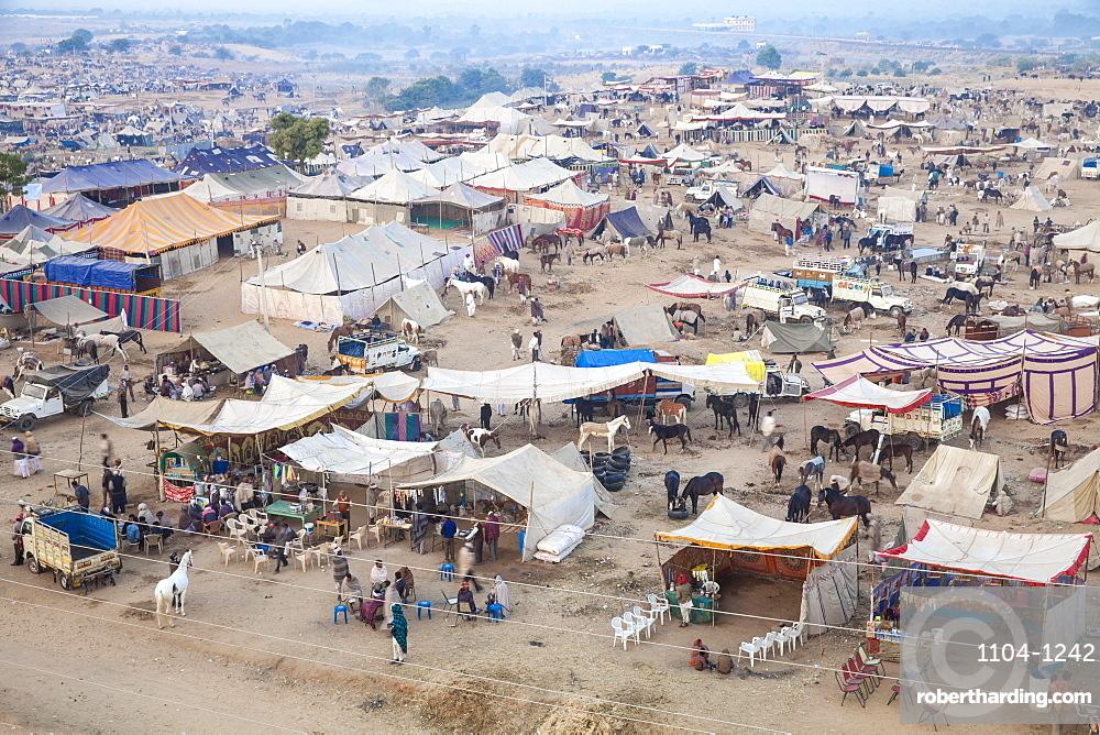 View of Pushkar Camel Fair, Pushkar, Rajasthan, India, Asia