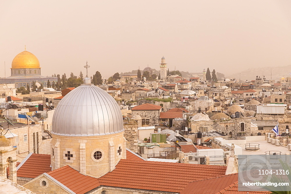 View of Dome of the Rock and the Old City, UNESCO World Heritage Site, Jerusalem, Israel, Middle East