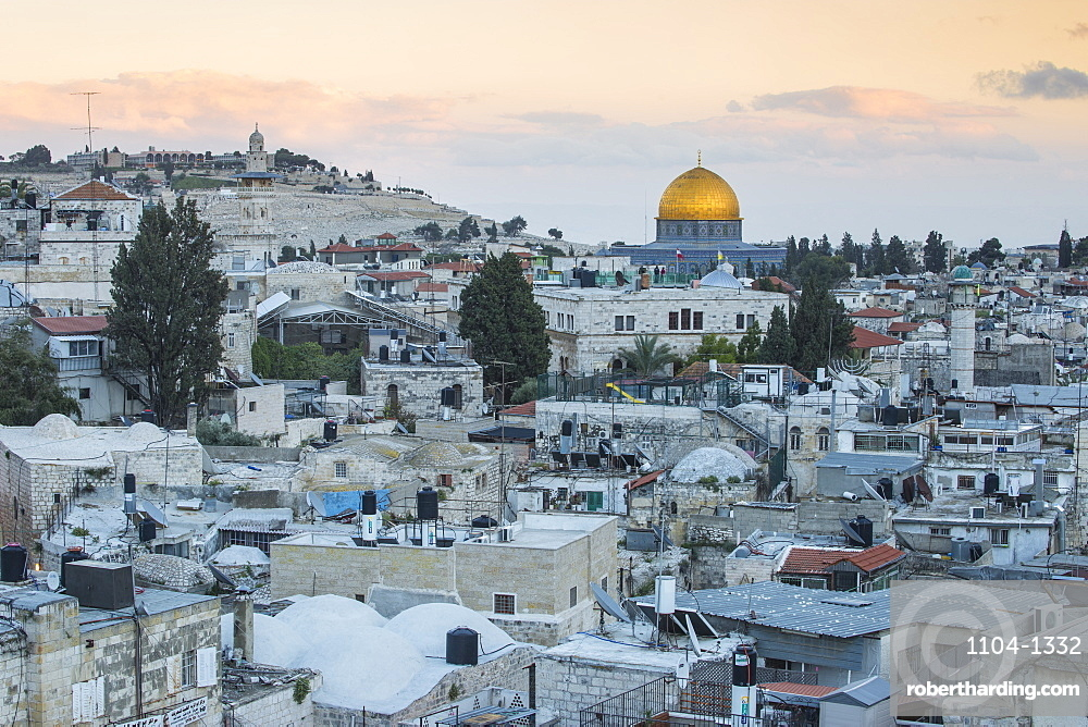 View over Muslim Quarter towards Dome of the Rock, Jerusalem, Israel, Middle East