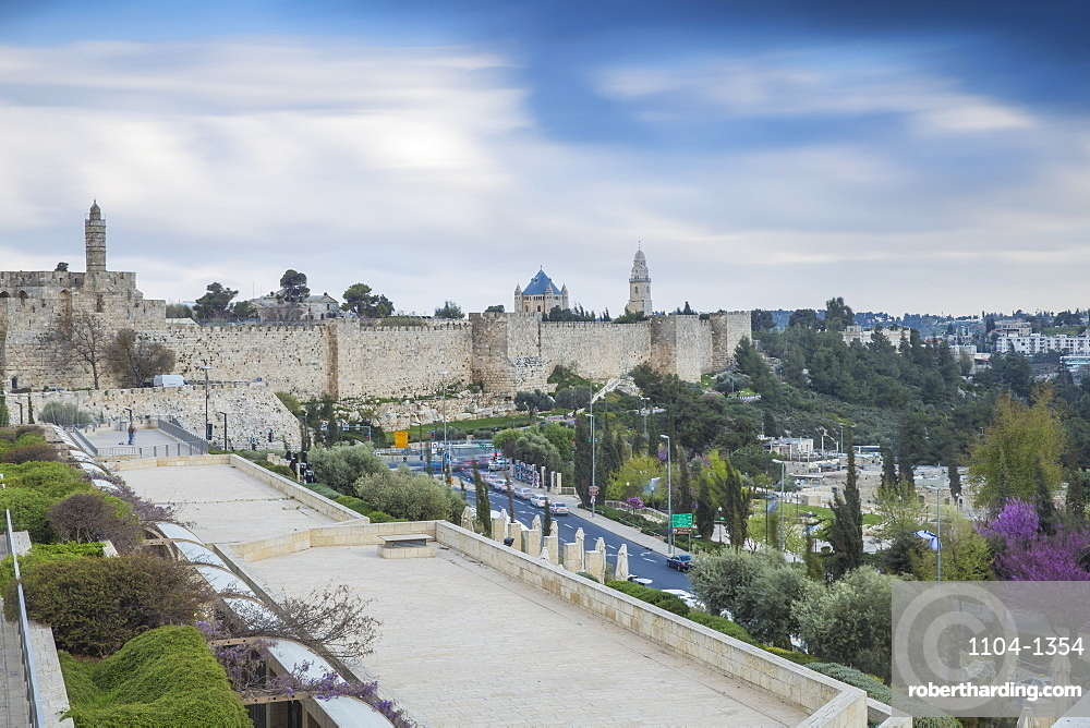 View over Marmilla Mall towards Jaffa Gate and the Old City, UNESCO World Heritage Site, Jerusalem, Israel, Middle East