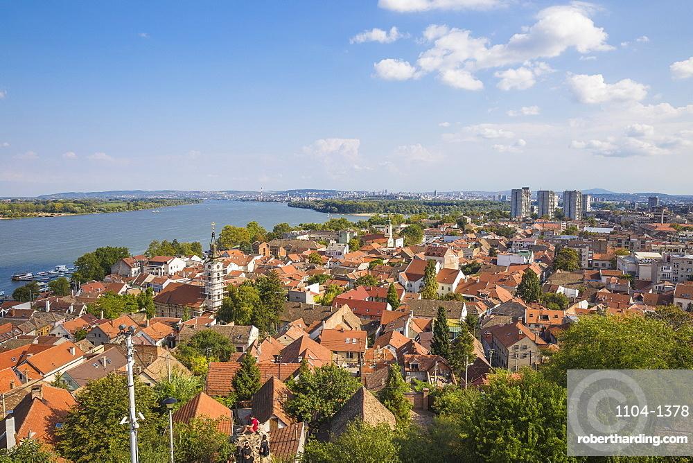 View of Zemun rooftops and the Danube River, Zemun, Belgrade, Serbia, Europe