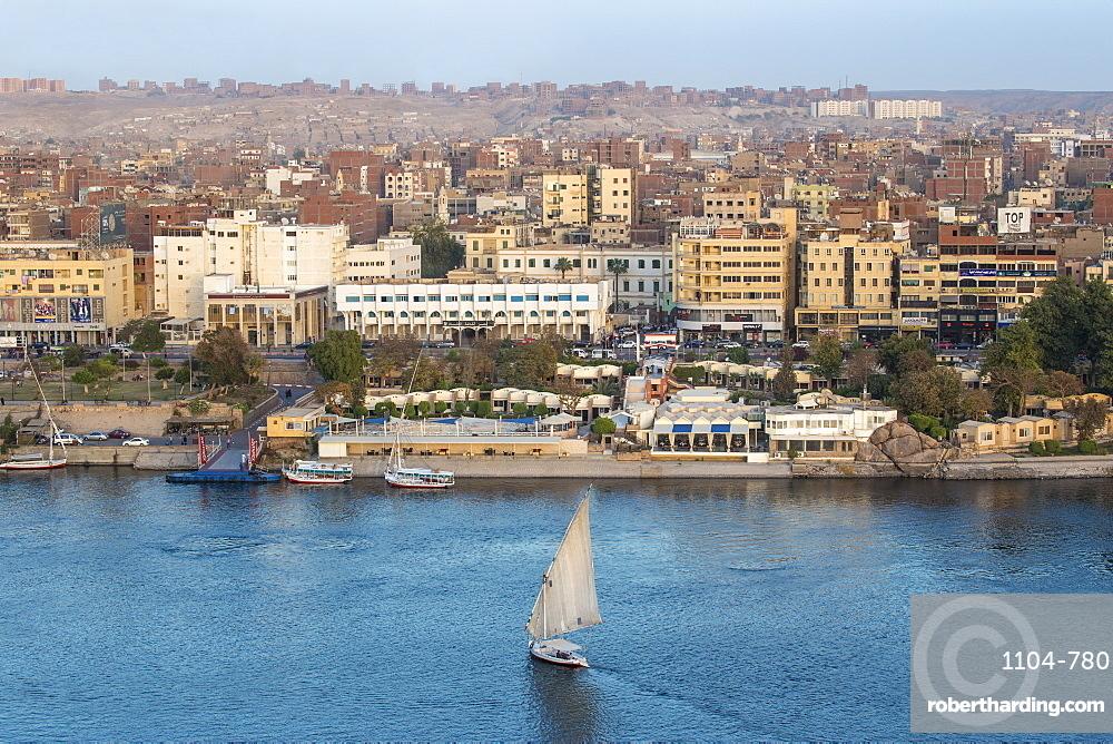 Egypt, Upper Egypt, Aswan, View of Aswan and River Nile