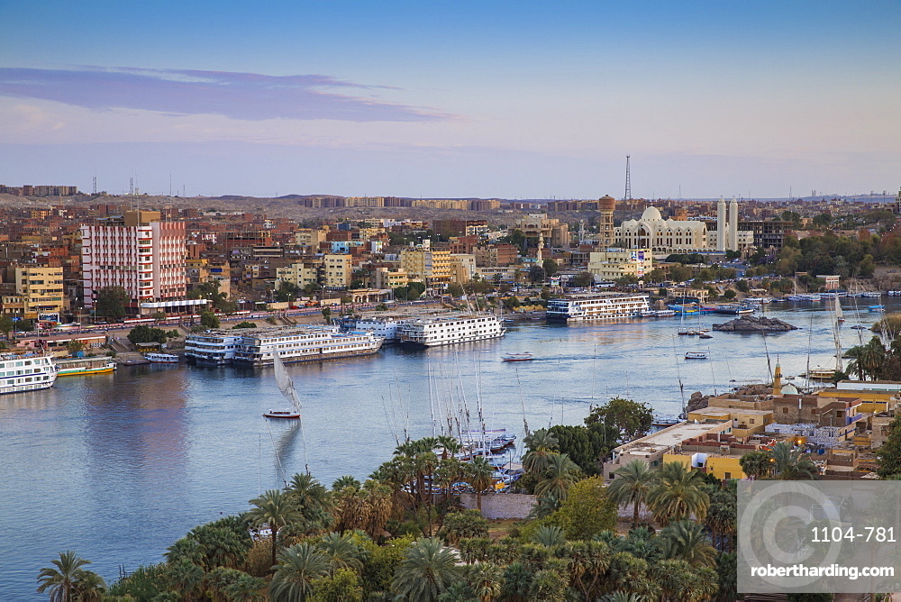 View of Aswan looking over Elephantine Island towards The Cataract Hotel, Aswan, Upper Egypt, Egypt, North Africa, Africa