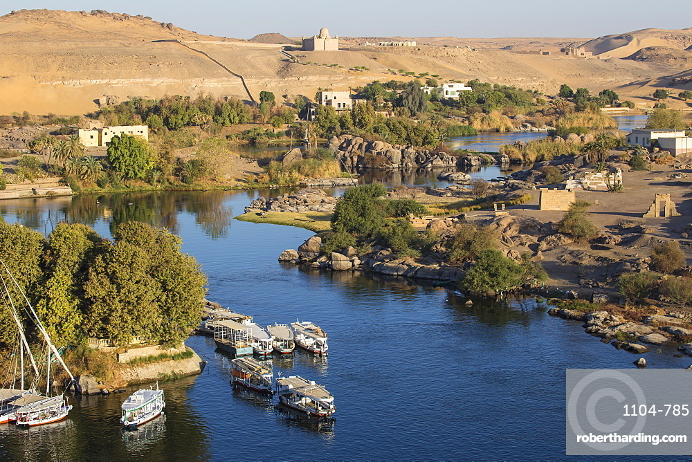 Egypt, Upper Egypt, Aswan, View of The River Nile and The Mausoleum of Aga Khan on the West Bank