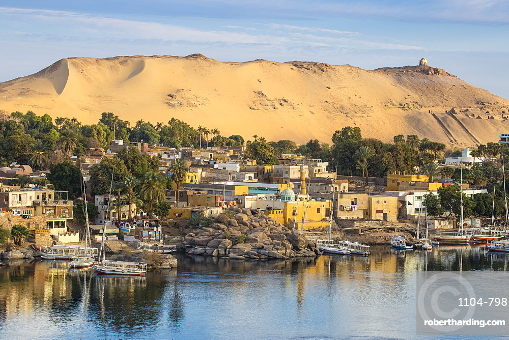 Egypt, Upper Egypt, Aswan, View of The River Nile and Nubian village on Elephantine Island