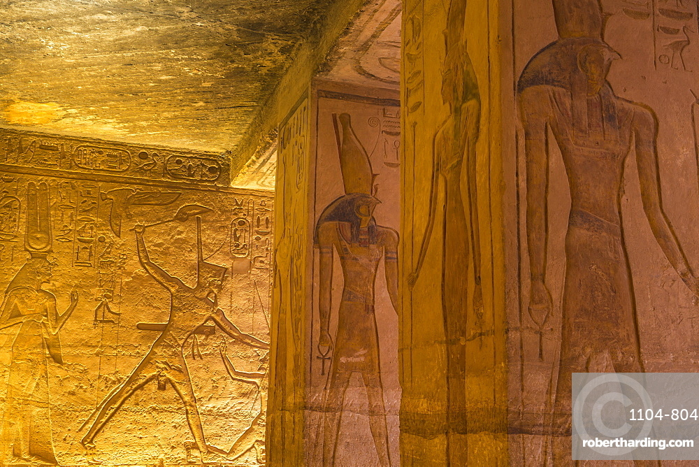 Mural reliefs in the hypostyle hall, The small temple, dedicated to Nefertari, Abu Simbel, UNESCO World Heritage Site, Egypt, North Africa, Africa