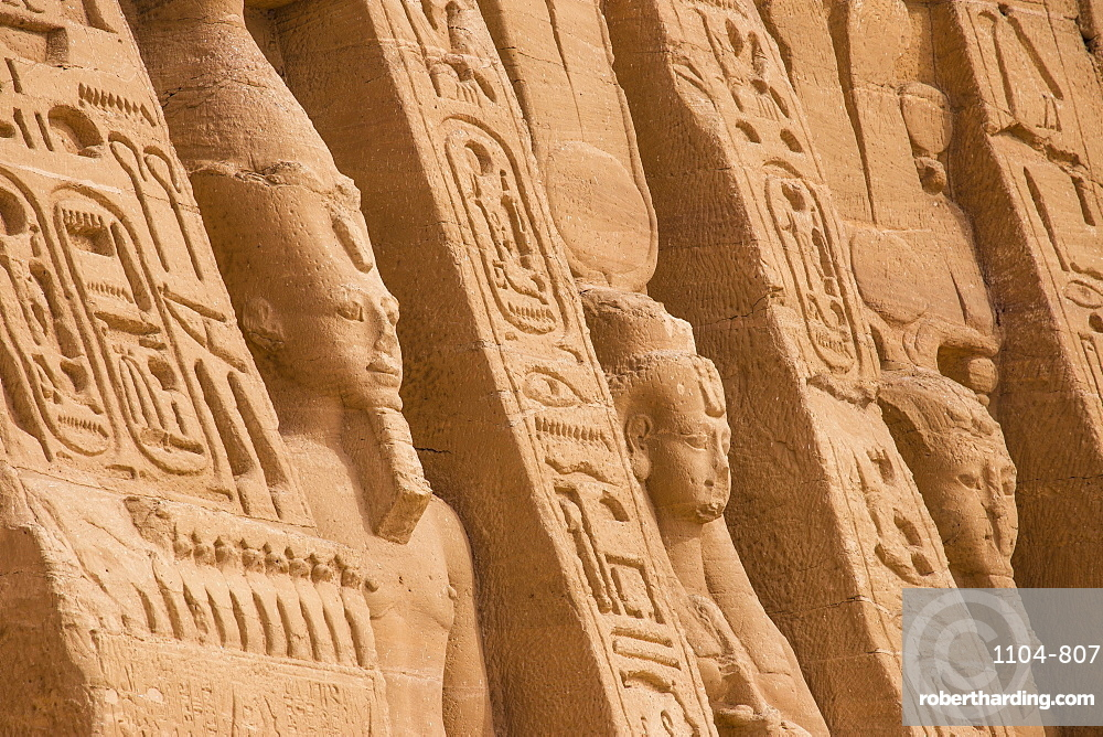 The small temple, dedicated to Nefertari and adorned with statues of the King and Queen, Abu Simbel, UNESCO World Heritage Site, Egypt, North Africa, African