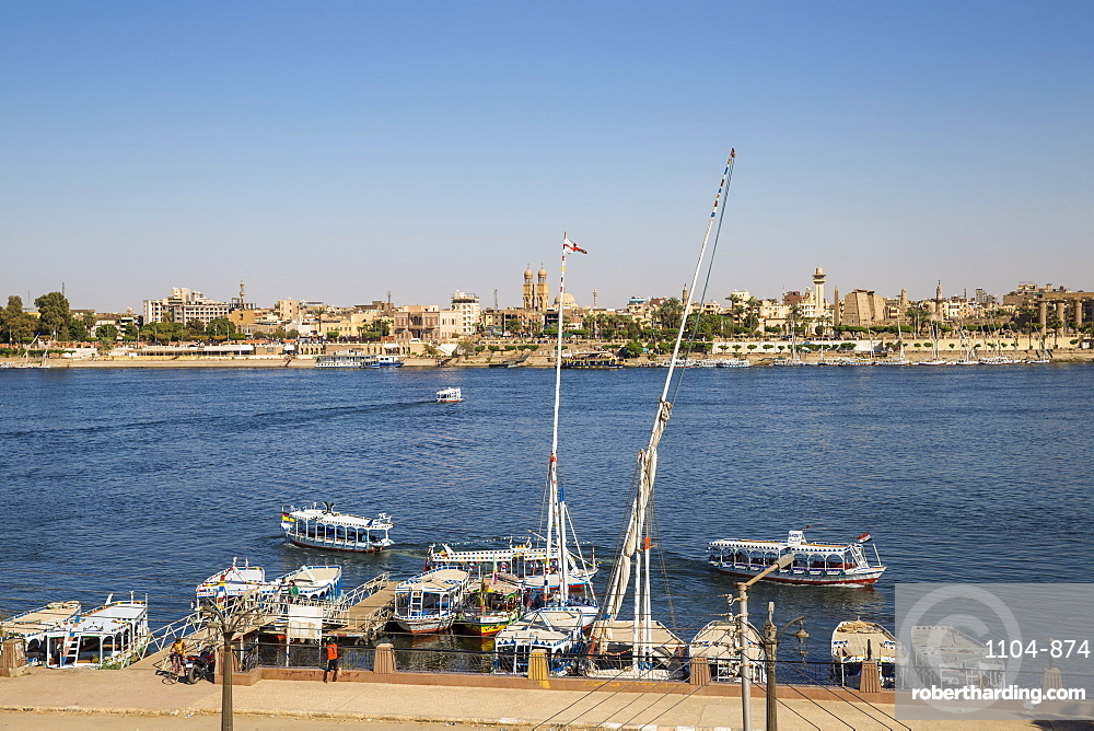 Egypt, Luxor, View of River Nile and Luxor temple